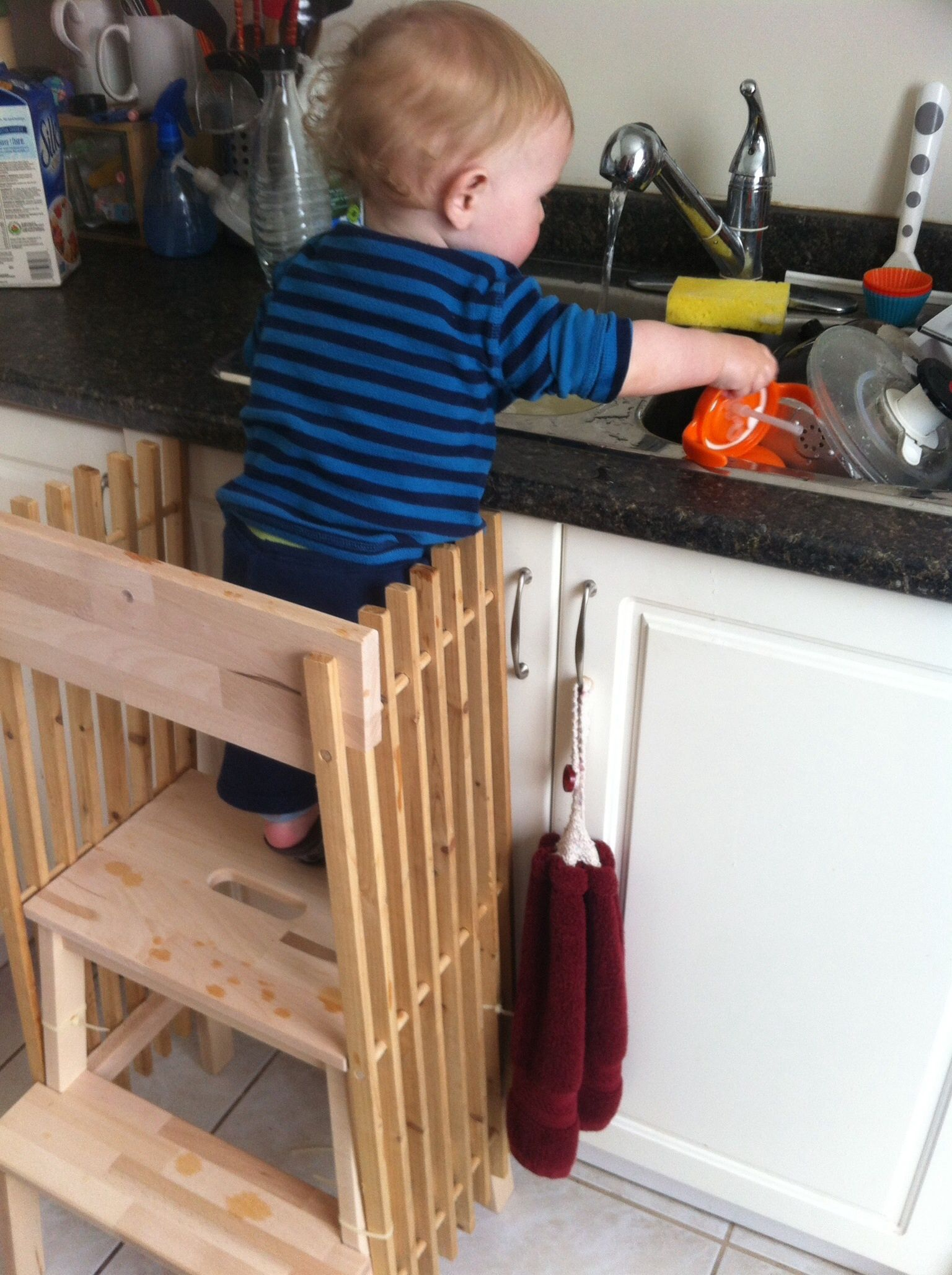 Ikea hack learning tower. One stool, one shoe rack, 4 zip