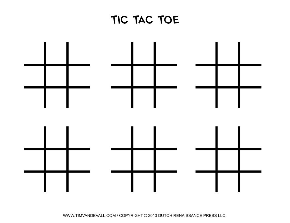 Timvandevall Free Printable Tic Tac Toe