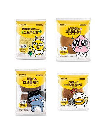 4 Kakao Friends Shany bread with emoji stickers Muzi, Apeach, Neo, and Tube