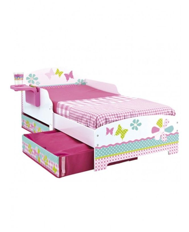 S Pretty N Pink Patchwork Toddler Bed With Storage And Shelf Deluxe Foam Mattress