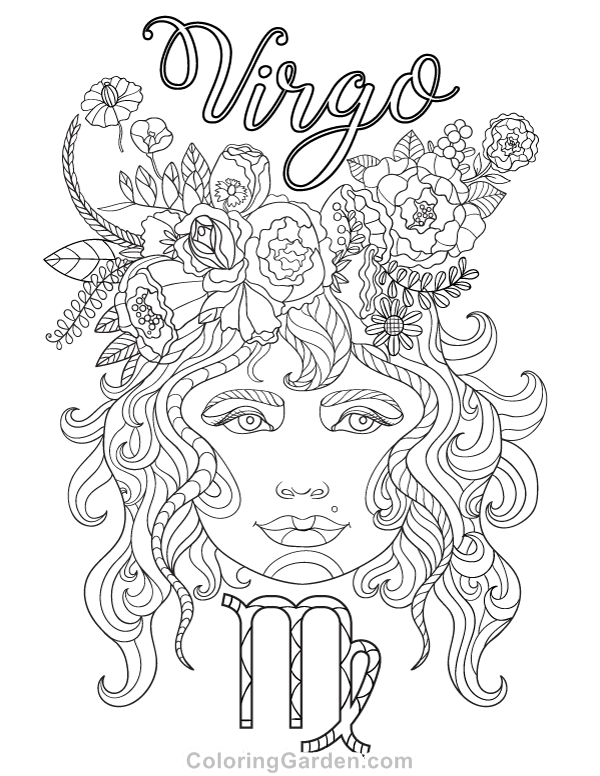 Free printable Virgo adult coloring page. Download it in