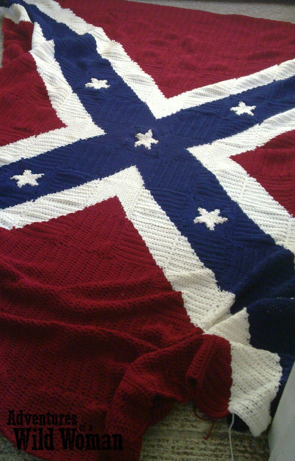 Crocheted Confederate Flag Afghan Sewing Crochet Knitting