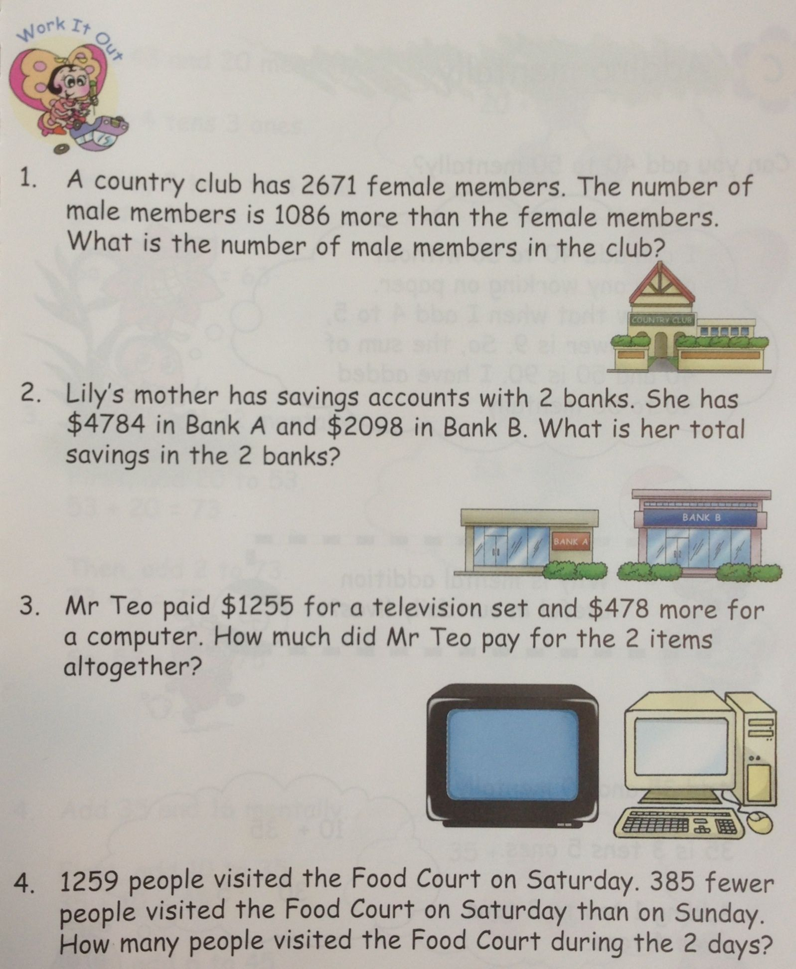 Some Word Problems On Addition Taken From In Step Maths