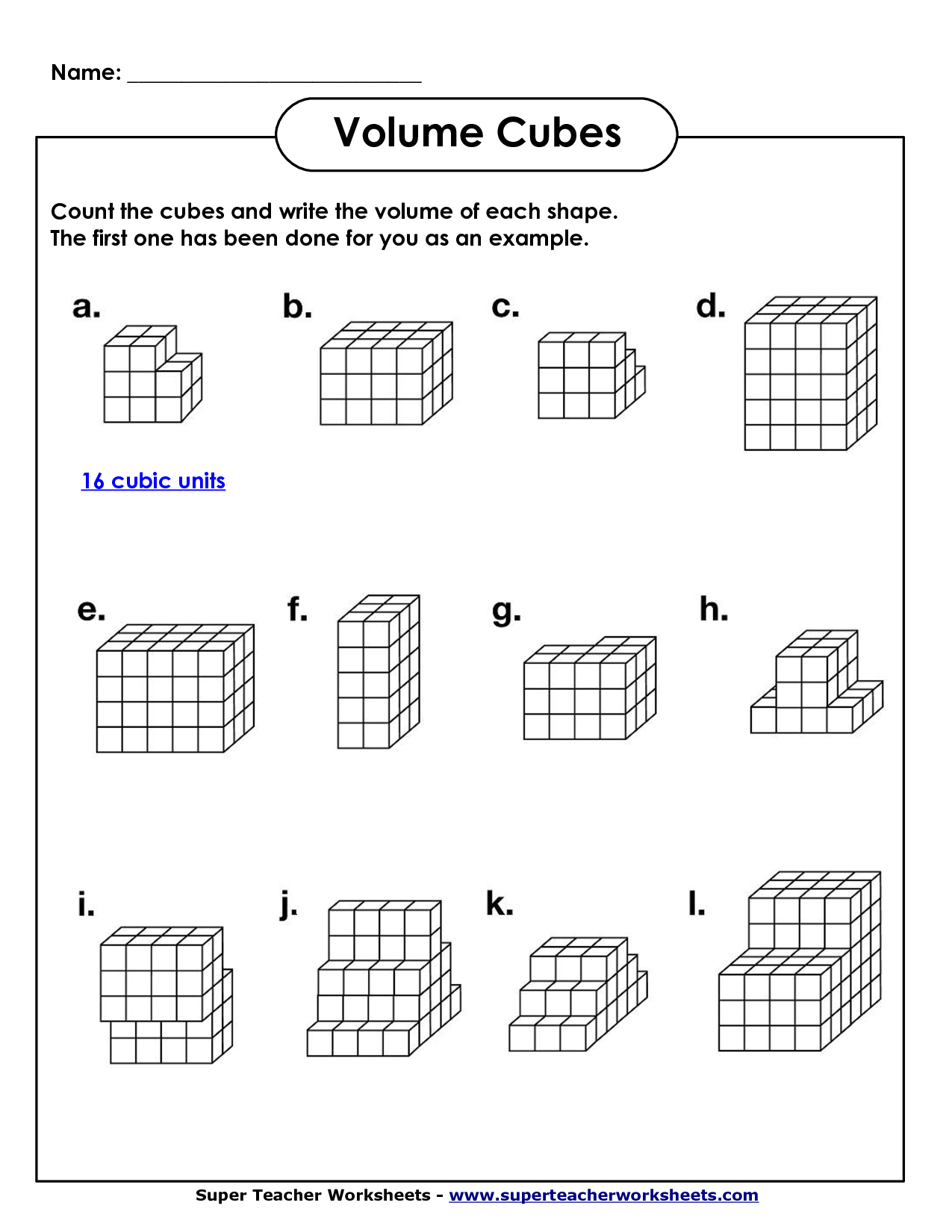 Worksheet With Answers Volume Cuboid