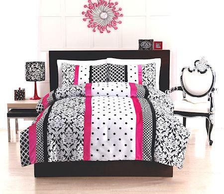 Elegant Black White Hot Pink Bedding Twin Full Comforter Set Damask Scroll