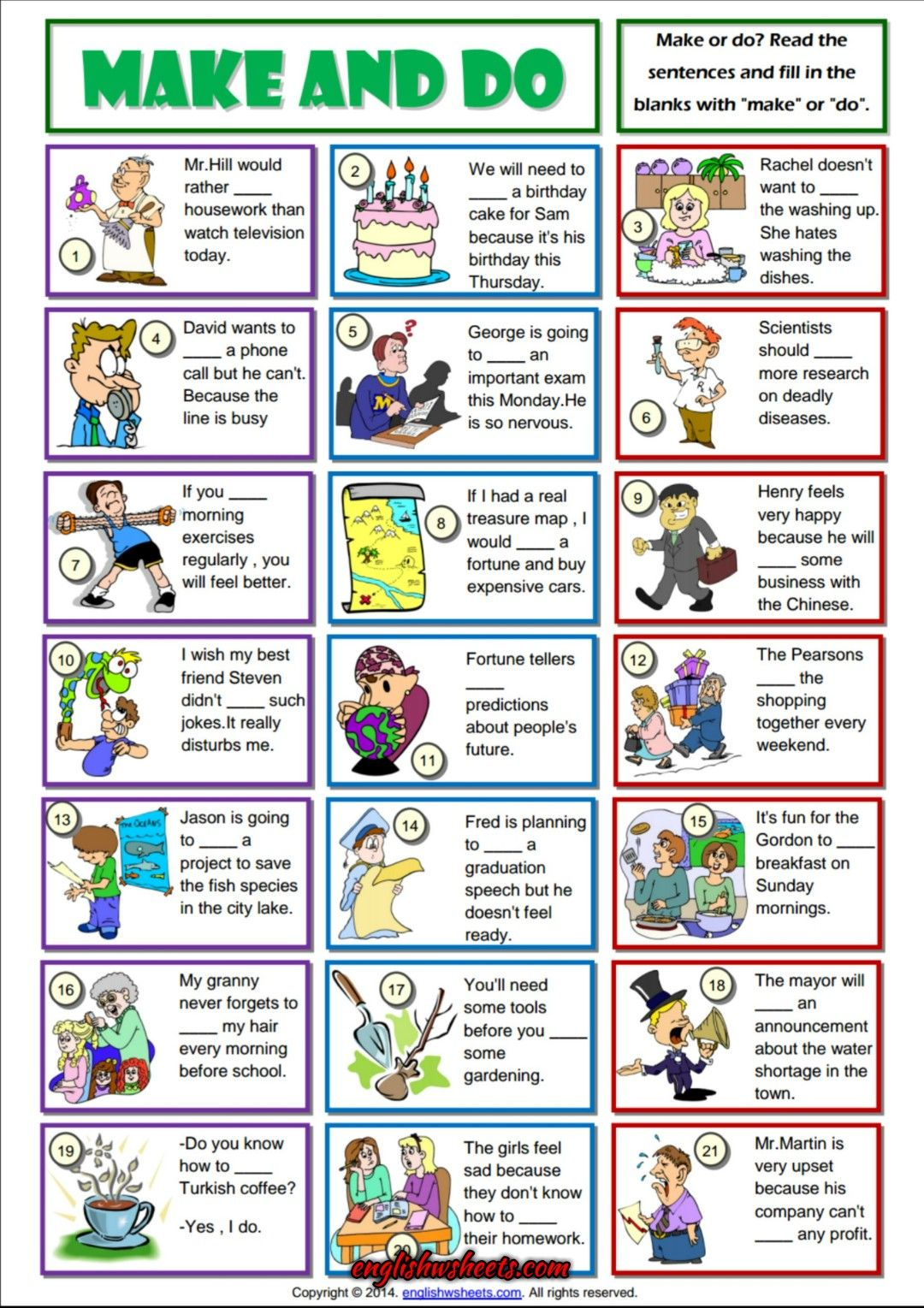 Make And Do Collocation Esl Grammar Exercise Worksheet