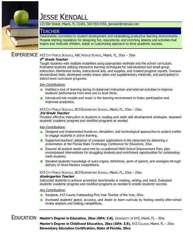 sample elementary math teacher resume sample page 1 resume