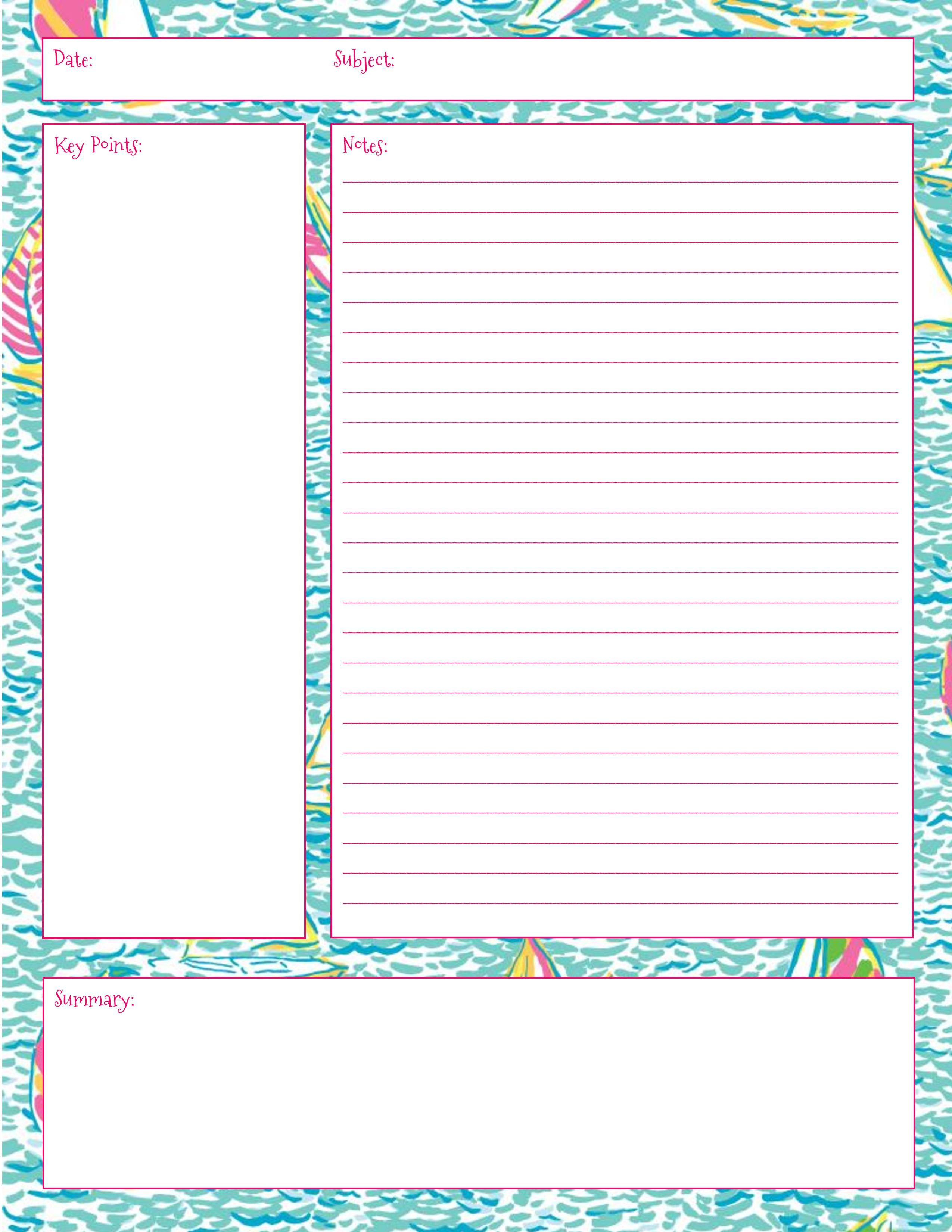 Lilly Note Taking Printables Also In First Impression