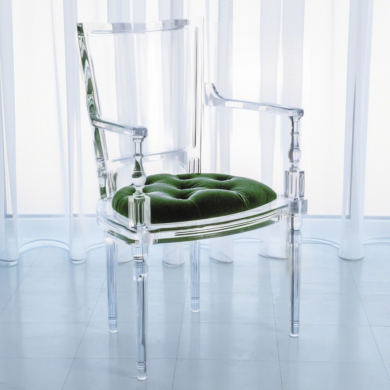 Global Views Marilyn Acrylic Emerald Green Arm Chair Zinc