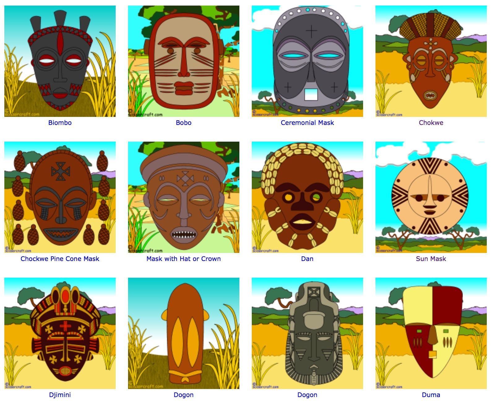 African Mask Worksheet