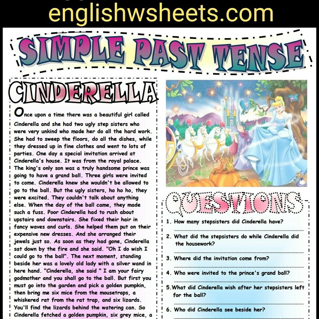 Cinderella Esl Printable Fairy Tale And Comprehension