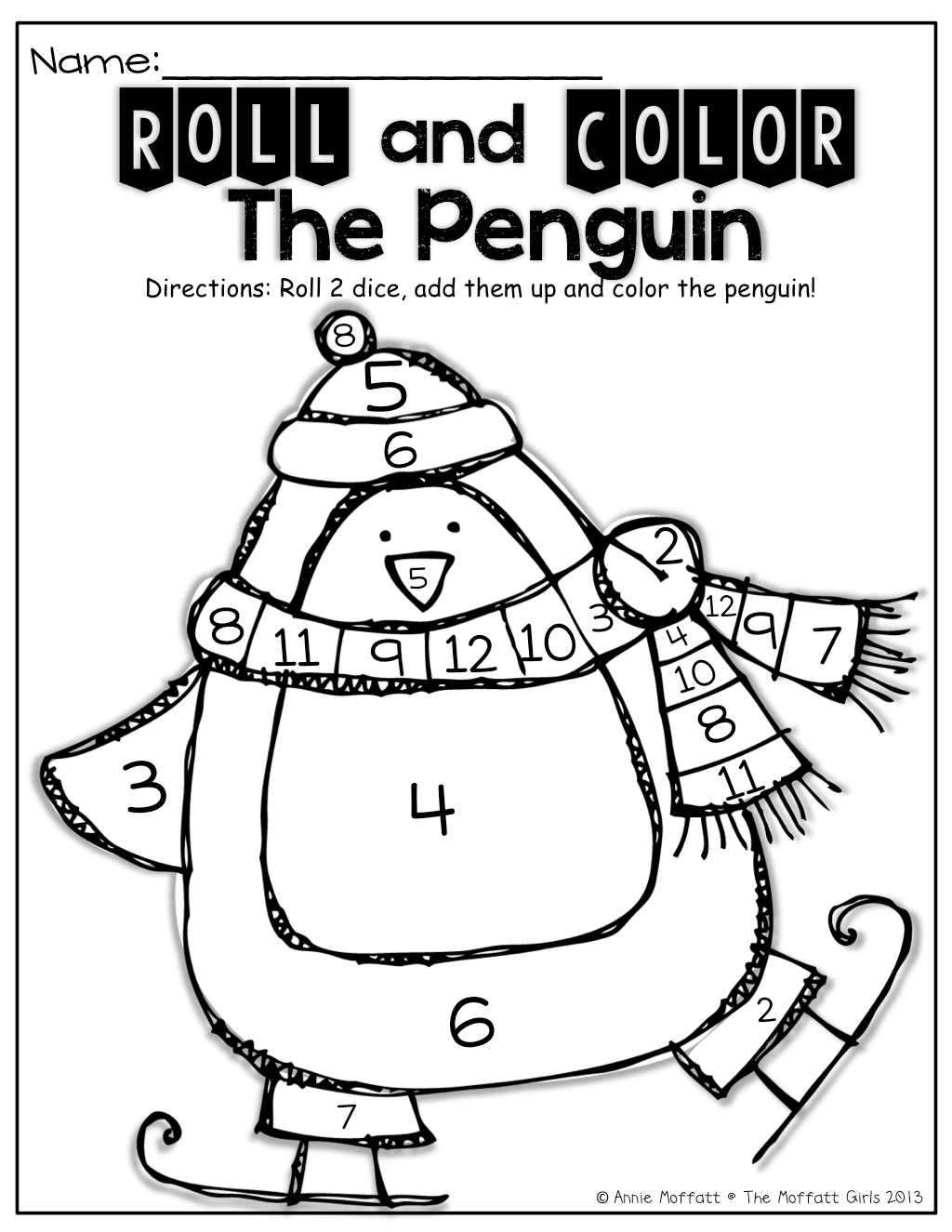 Roll 2 Dice Add Them Up And Color The Penguin Great