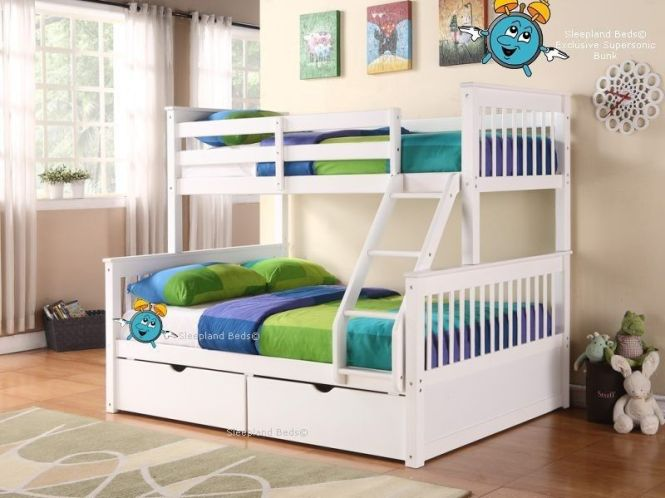 White Supersonic Wooden Double Bunk Beds With Drawers Triple Sleeper