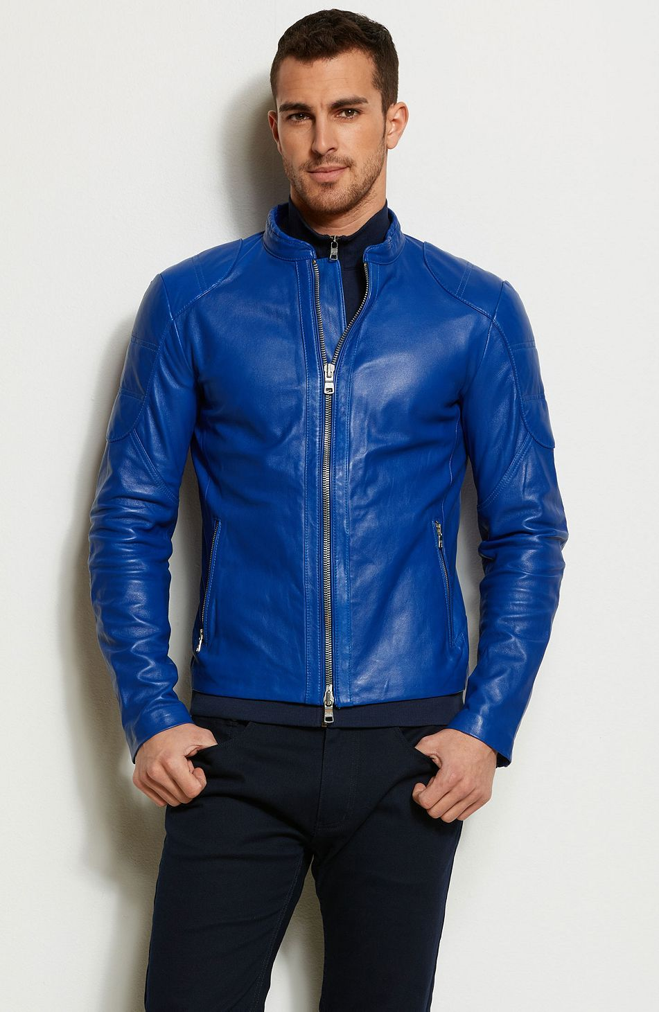 Pop Color Leather Moto Jacket Jackets & Blazers Mens