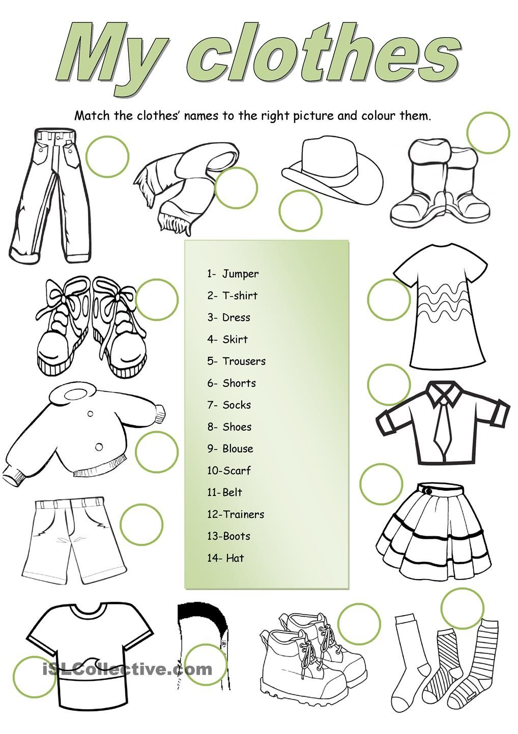 Clothes matching teaching Pinterest Clothes, English