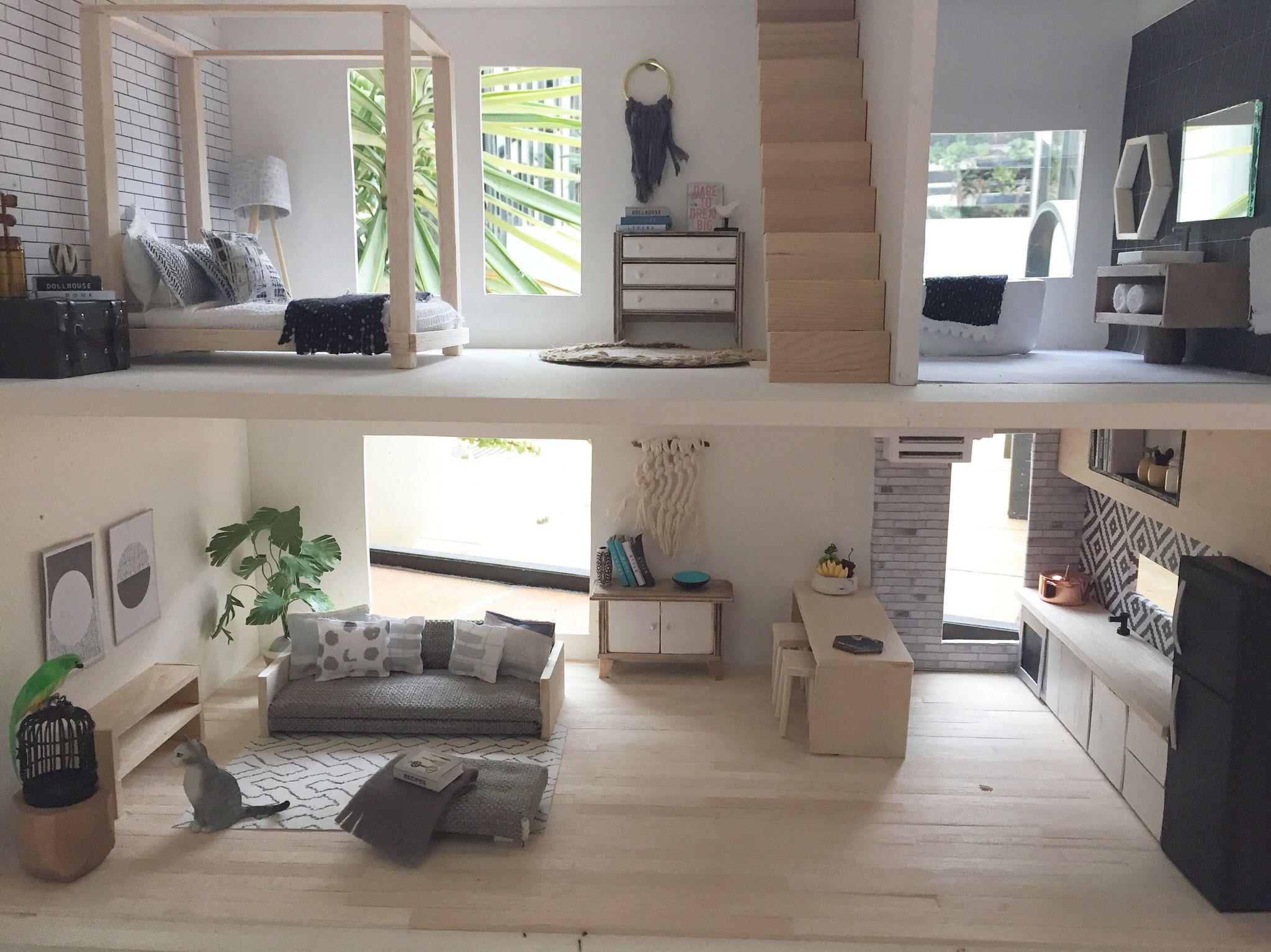 DIY dollhouse furniture, modern miniatures, miniature