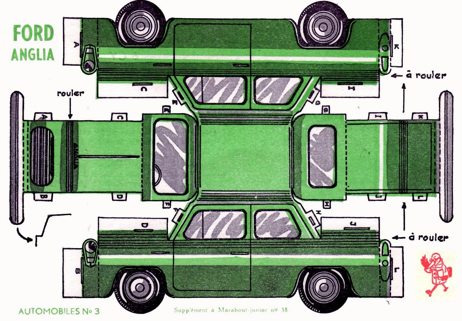 Vintage Ford Anglia Car Paper Model Cut Outs