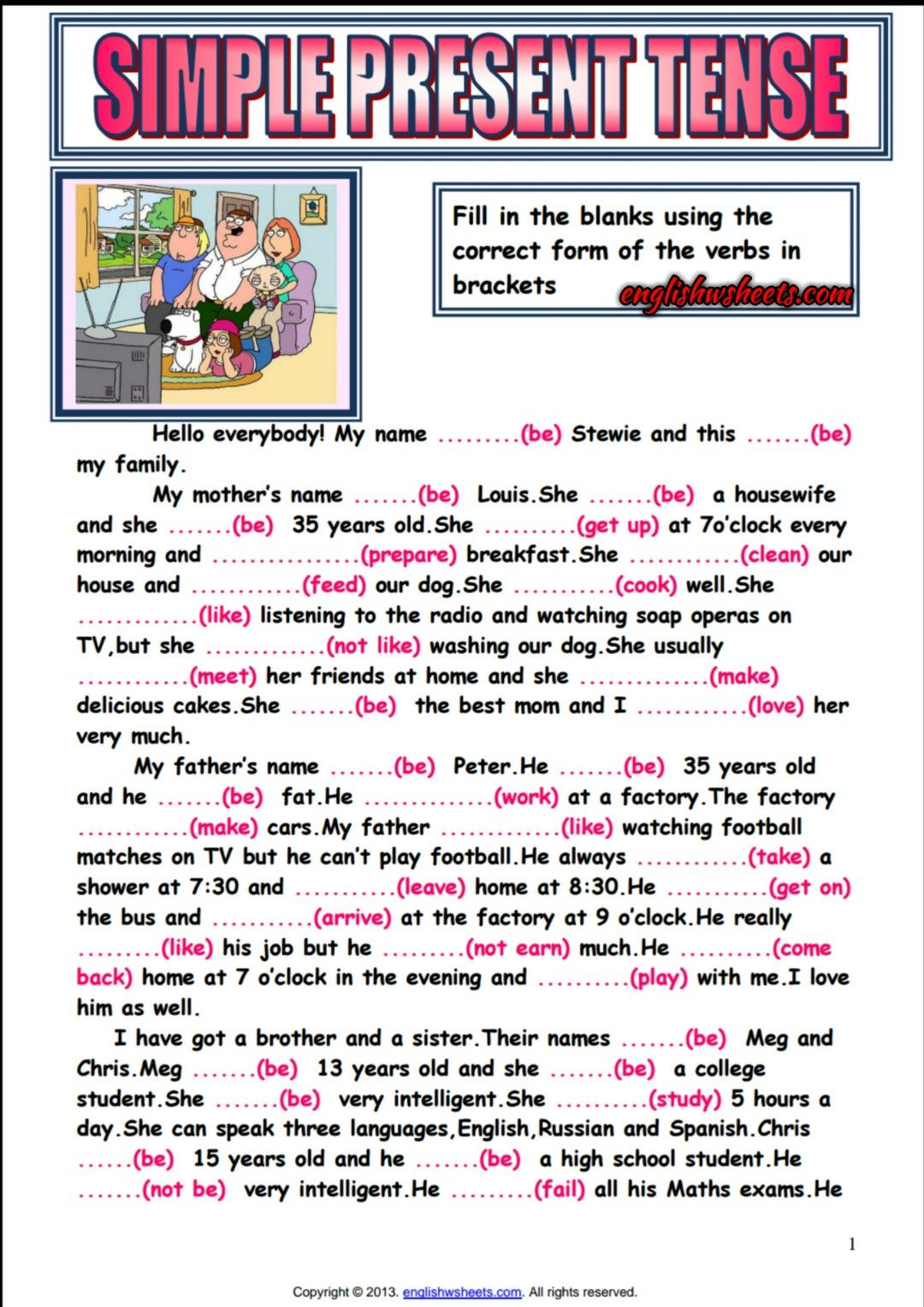Simple Present Tense Reading Text Gap Filling Exercise