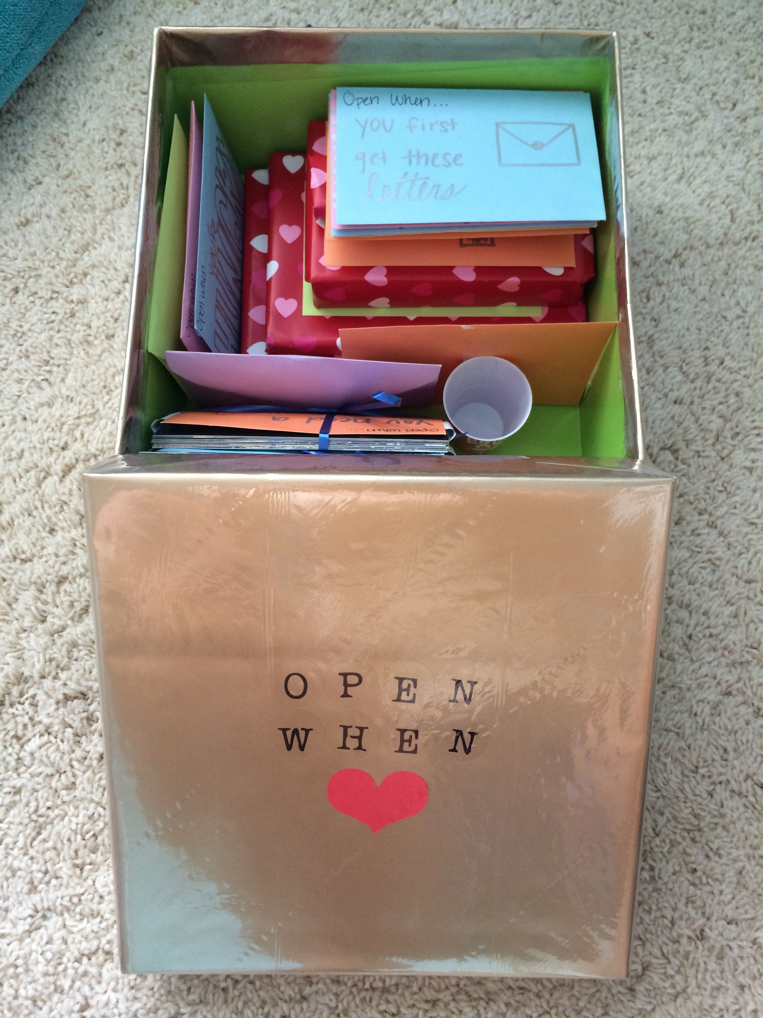 Open when letters box with small presents. Very cute idea