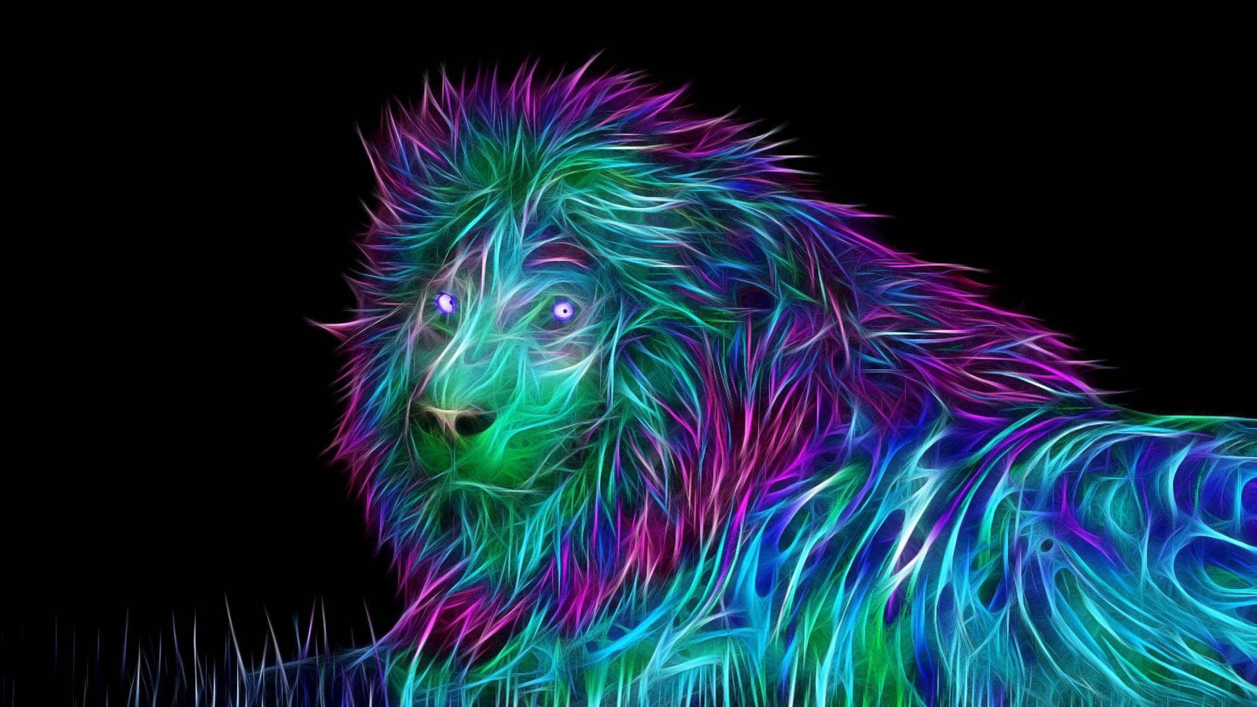 Neon lion wallpaper neon lion digitalart FITNESS AND