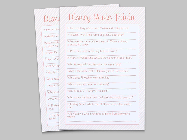 Disney Children S Movie Trivia Game Baby Shower By Lashepherd 8 00