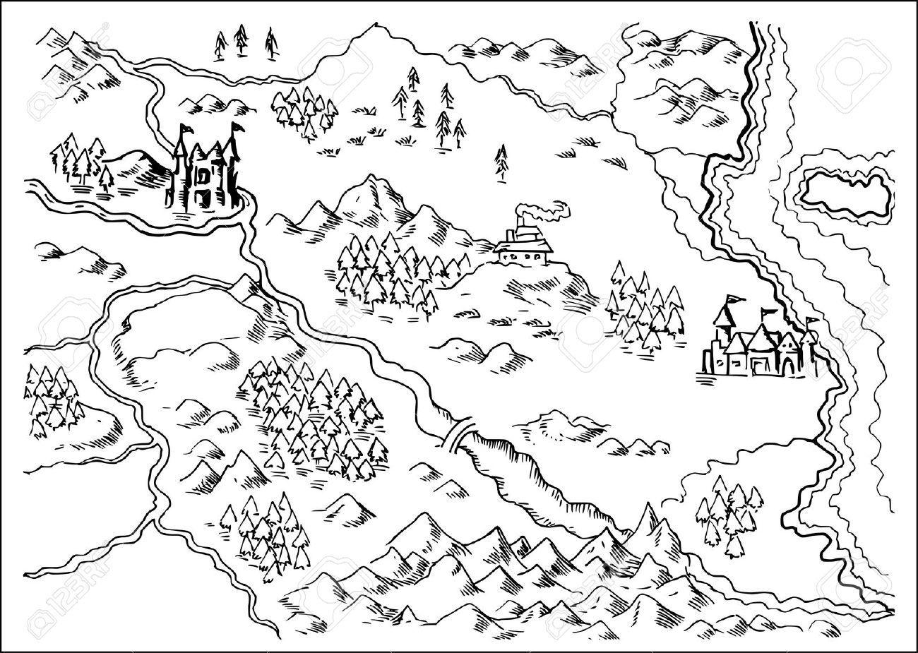 Mountains Maps Sketch