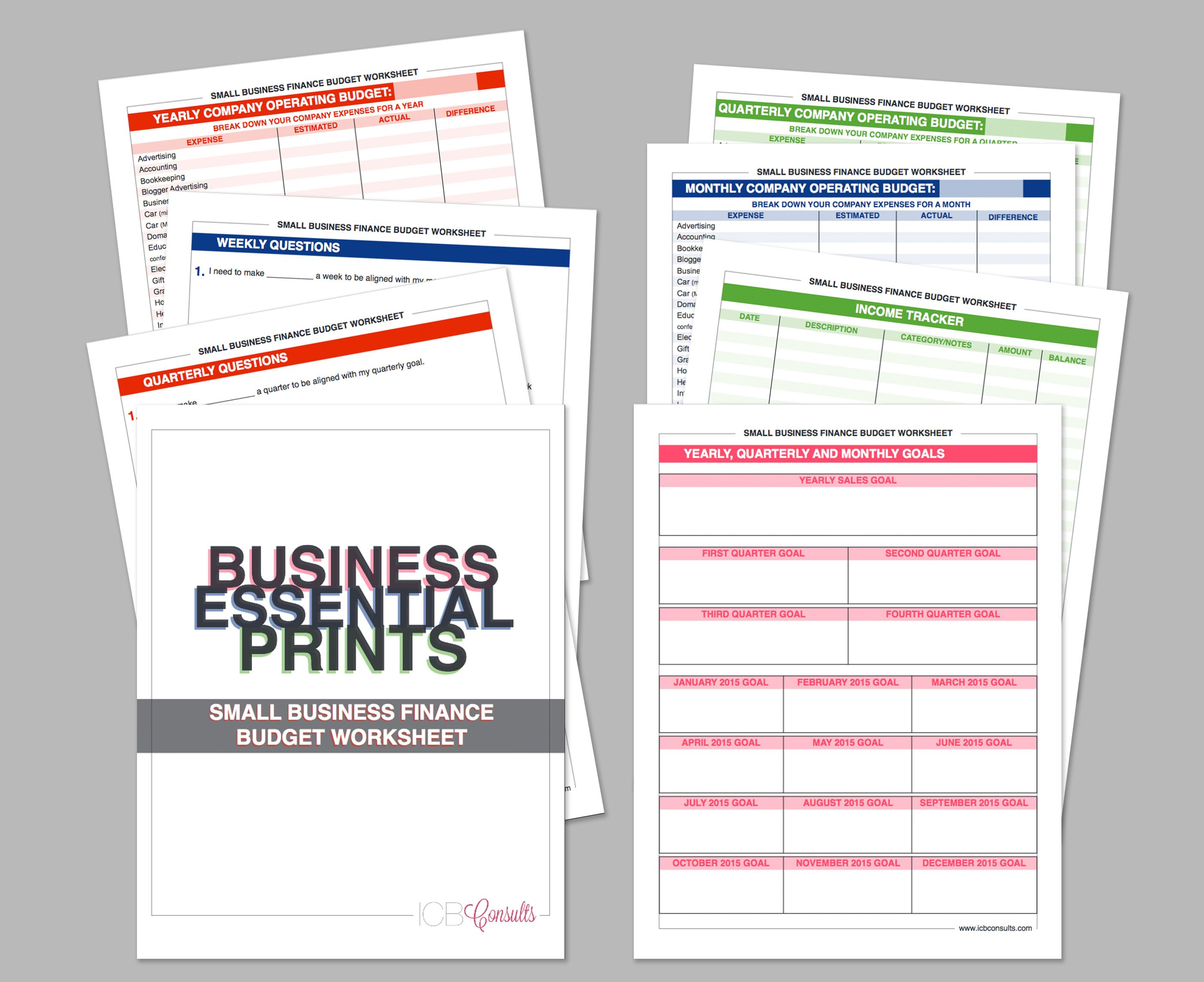 Small Business Finance Budget Worksheet Questionnaire