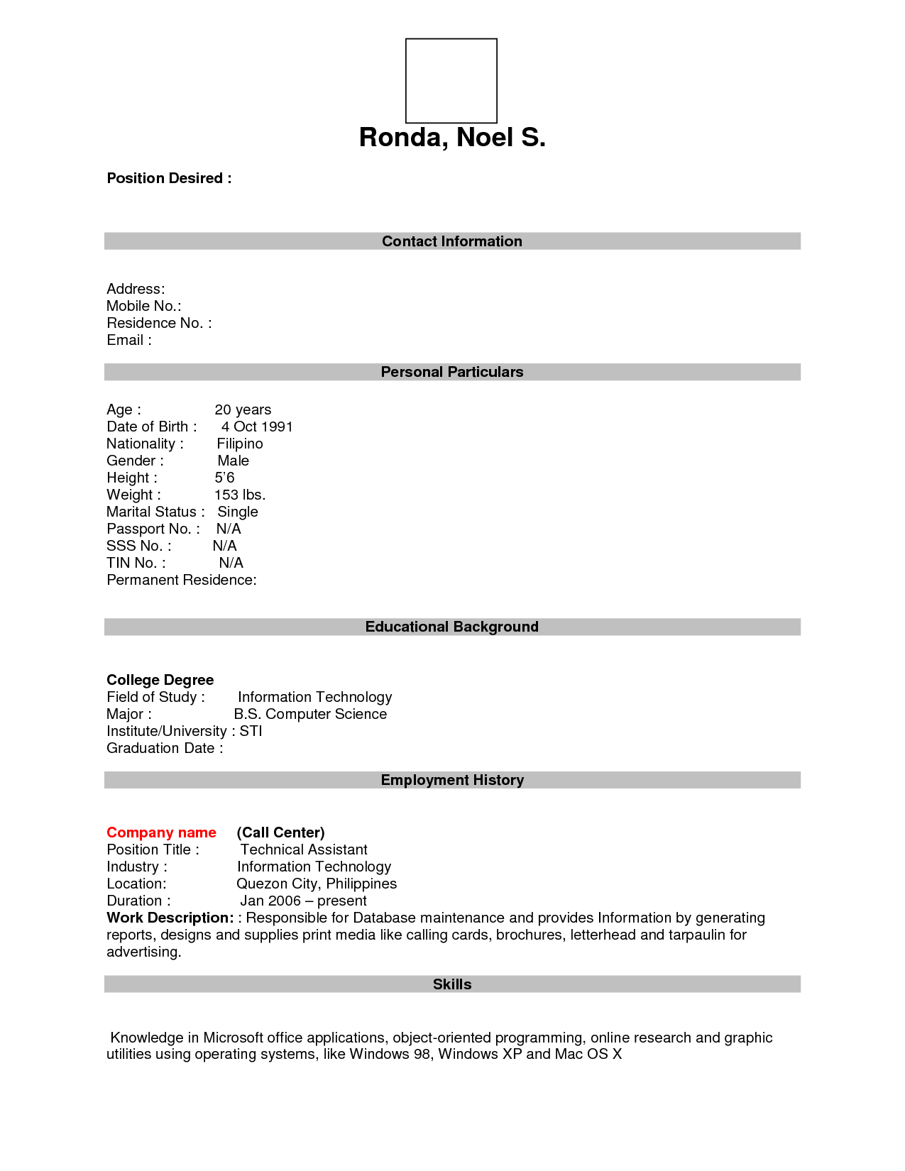 Blank Resume Forms To Fill Out Resumecareer Info  Fill In The Blank Resume Pdf