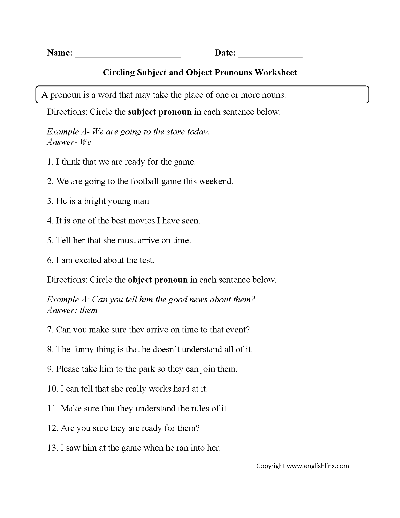Learning Subject And Object Pronouns Worksheet