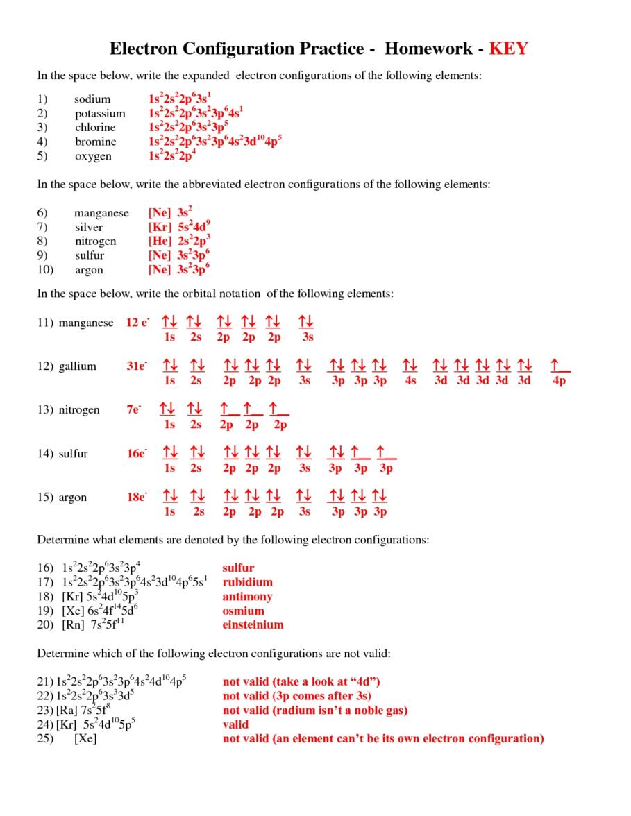 Exercise Electron Configurations Worksheet Electron