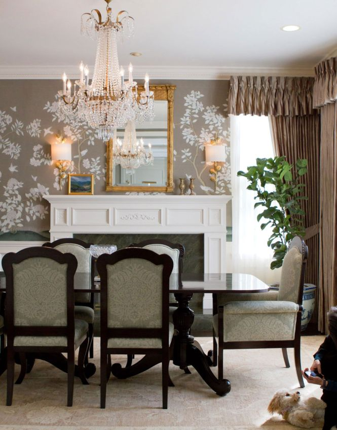 British Colonial Dining Room Decor With Empire Style Crystal Chandelier