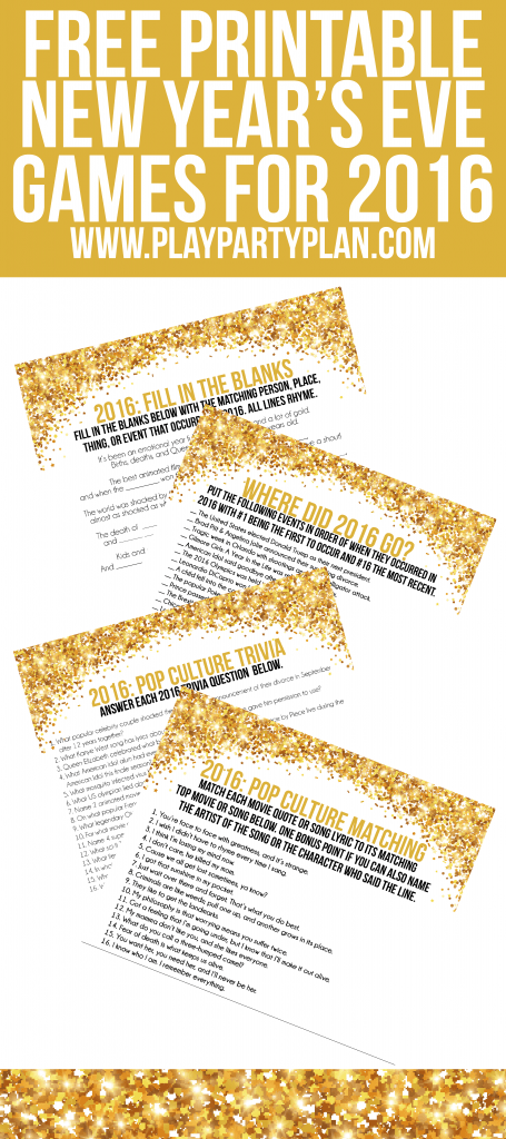 These four free printable 2016 New Year's Eve party games