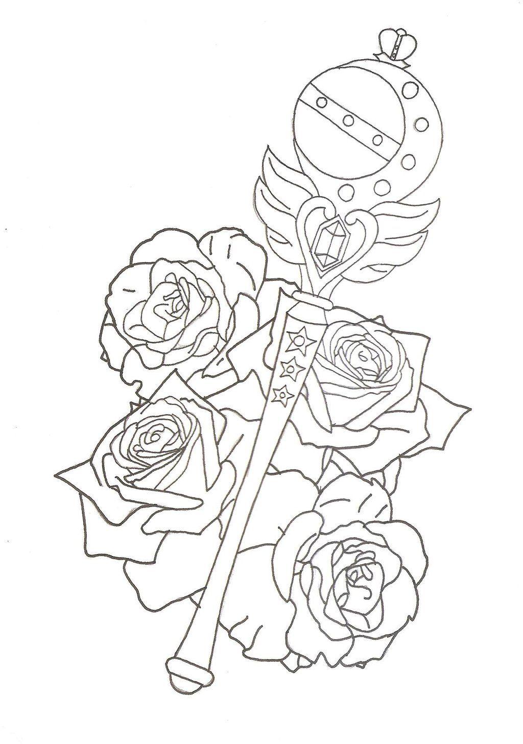 Sailor Moon Cutie Moon Rod Tattoo Design by