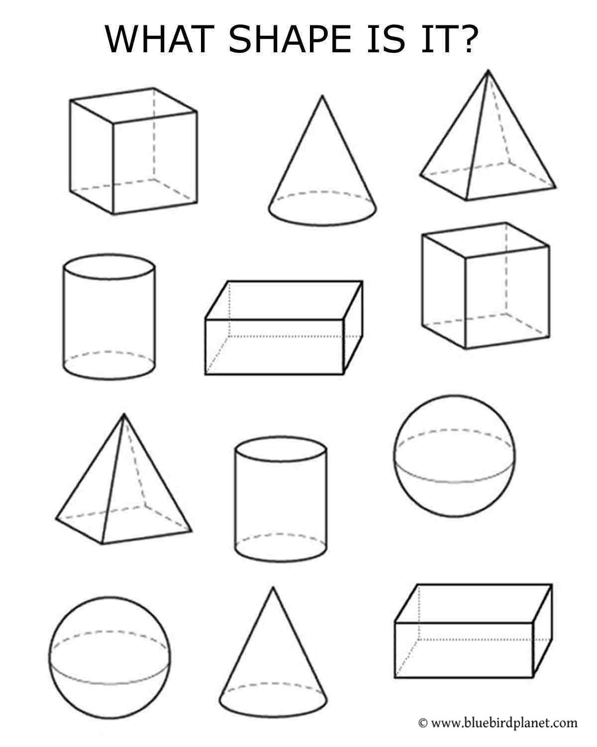 Free Printable Worksheets For Preschool Kindergarten 1st 2nd 3rd 4th 5th Grades 3d Shapes