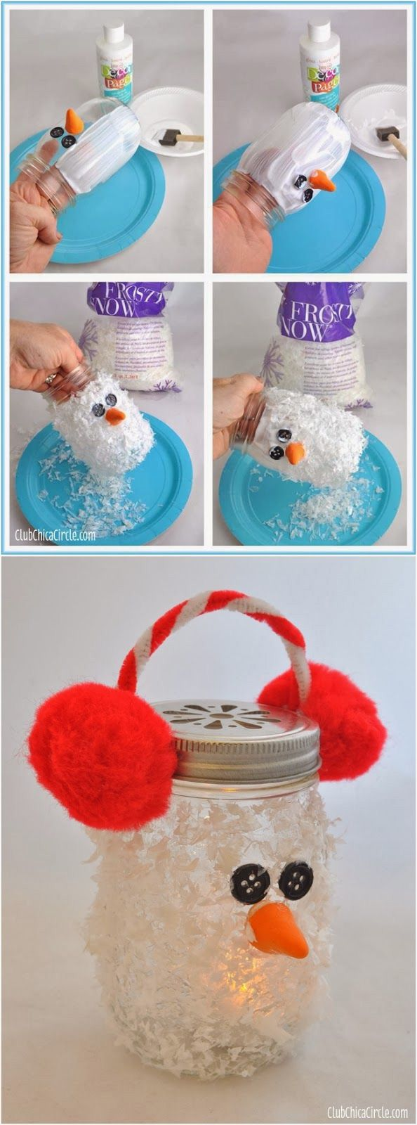 Snowman Mason Jar Luminary Super cute winter DIY craft