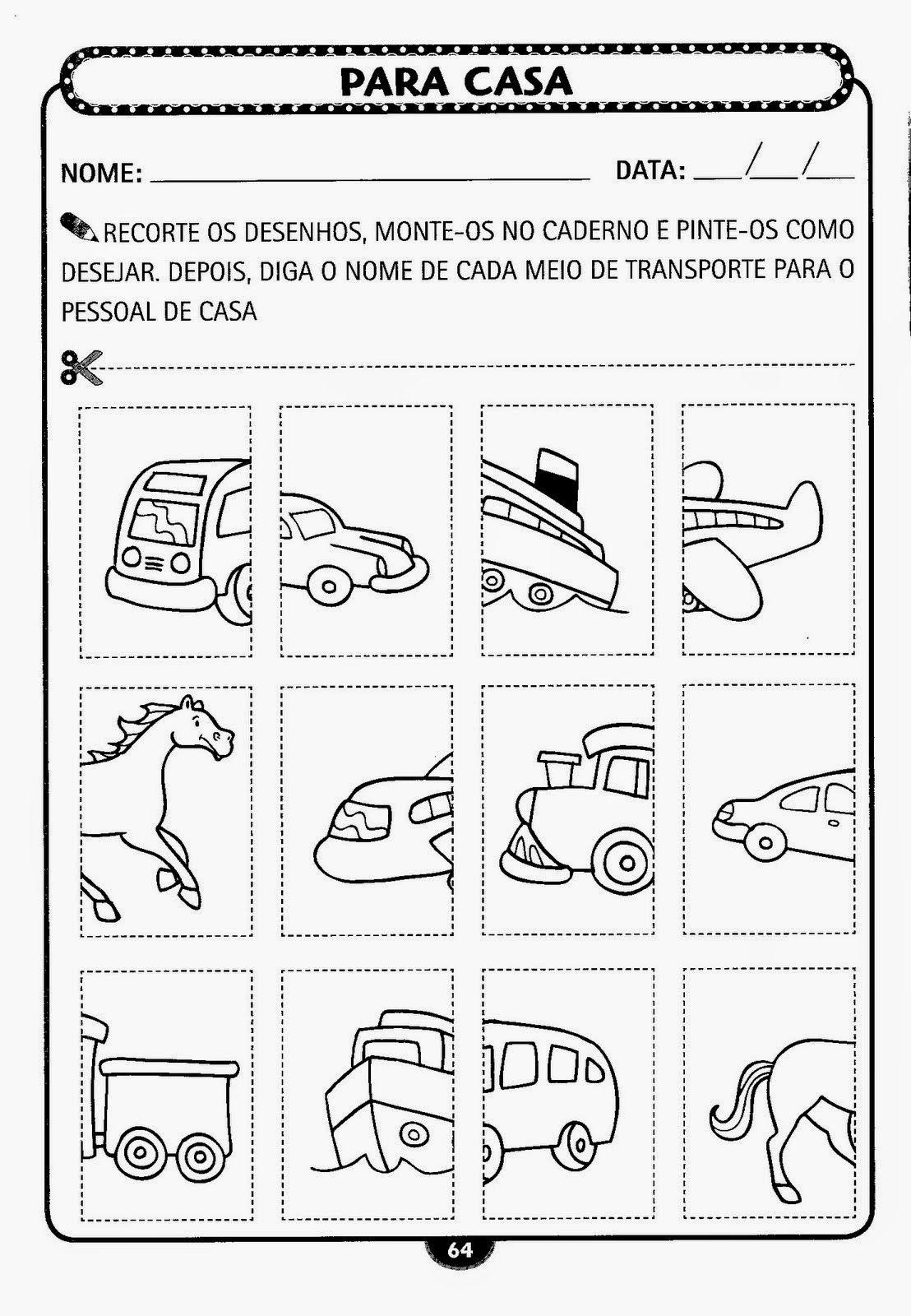 Conhecimento Do Mundo Meios De Transporte Atividades