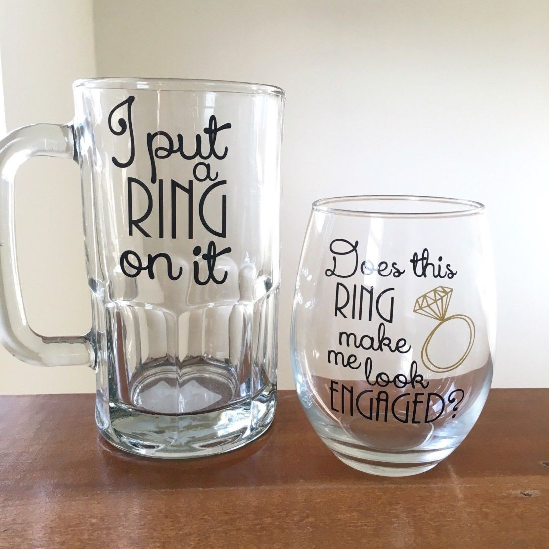 Couples engagement gift i put a ring on it beer mug does