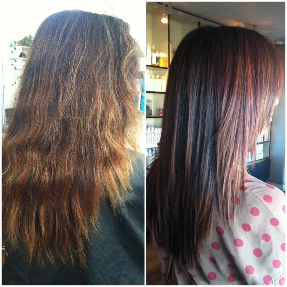 Before and after color and keratin protein treatment