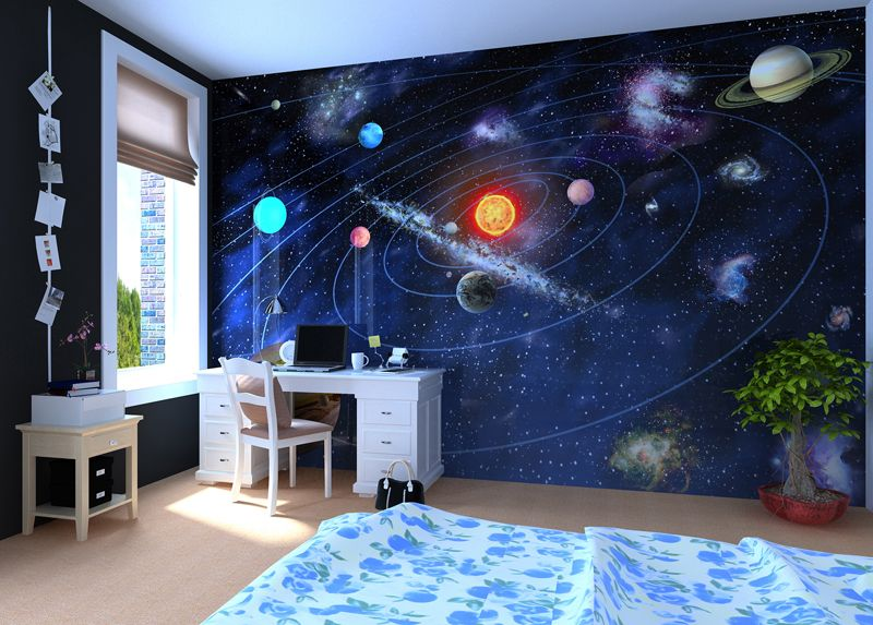 solar system - wall mural, wallpaper, photowall, home decor