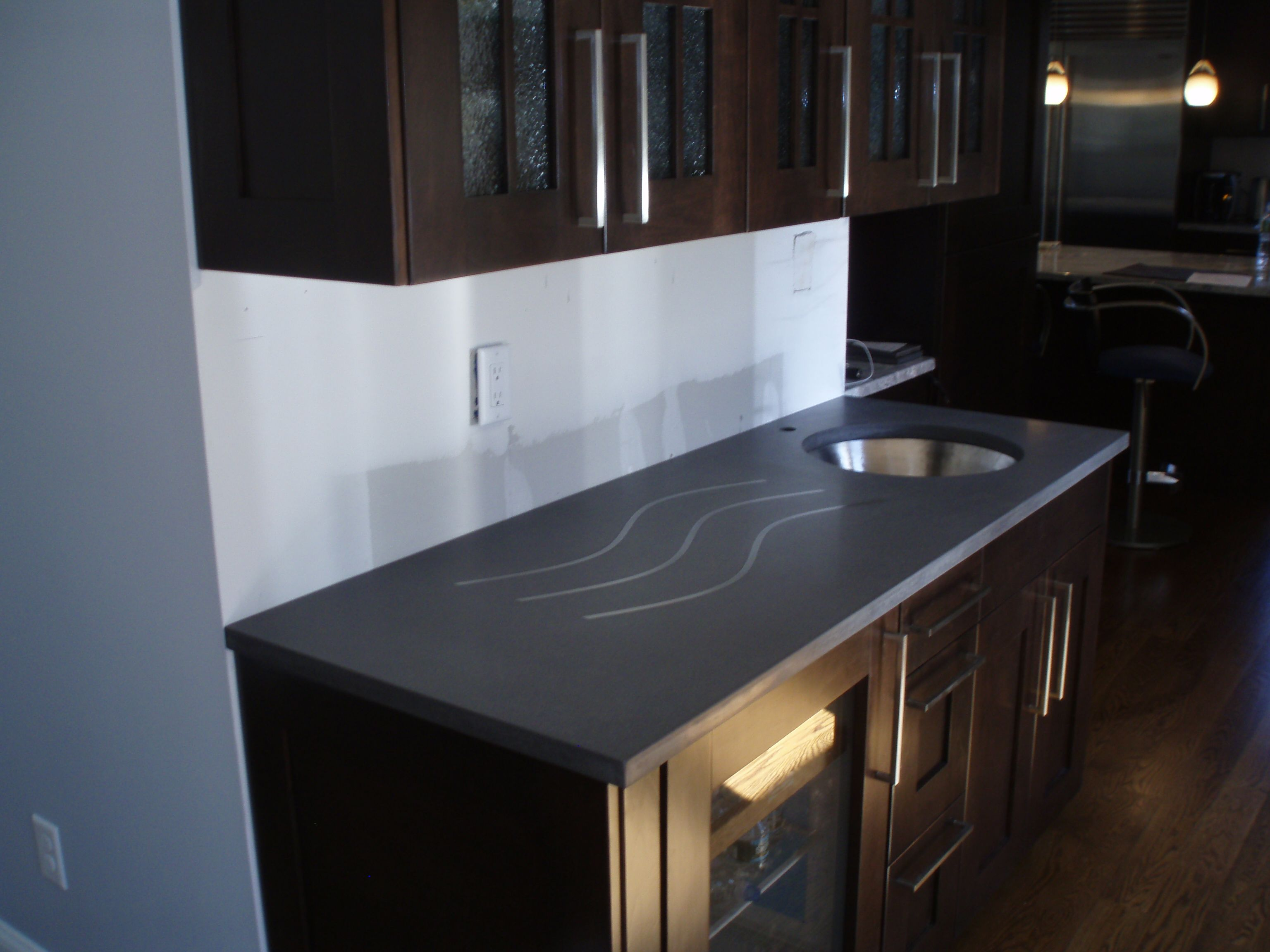 Gray Concrete Countertop With Undermount Sink Cutout And