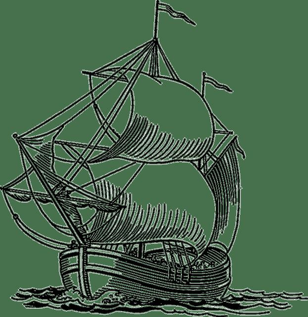 sailing, ship, boat, pirate, ocean, sea, travel Clipart
