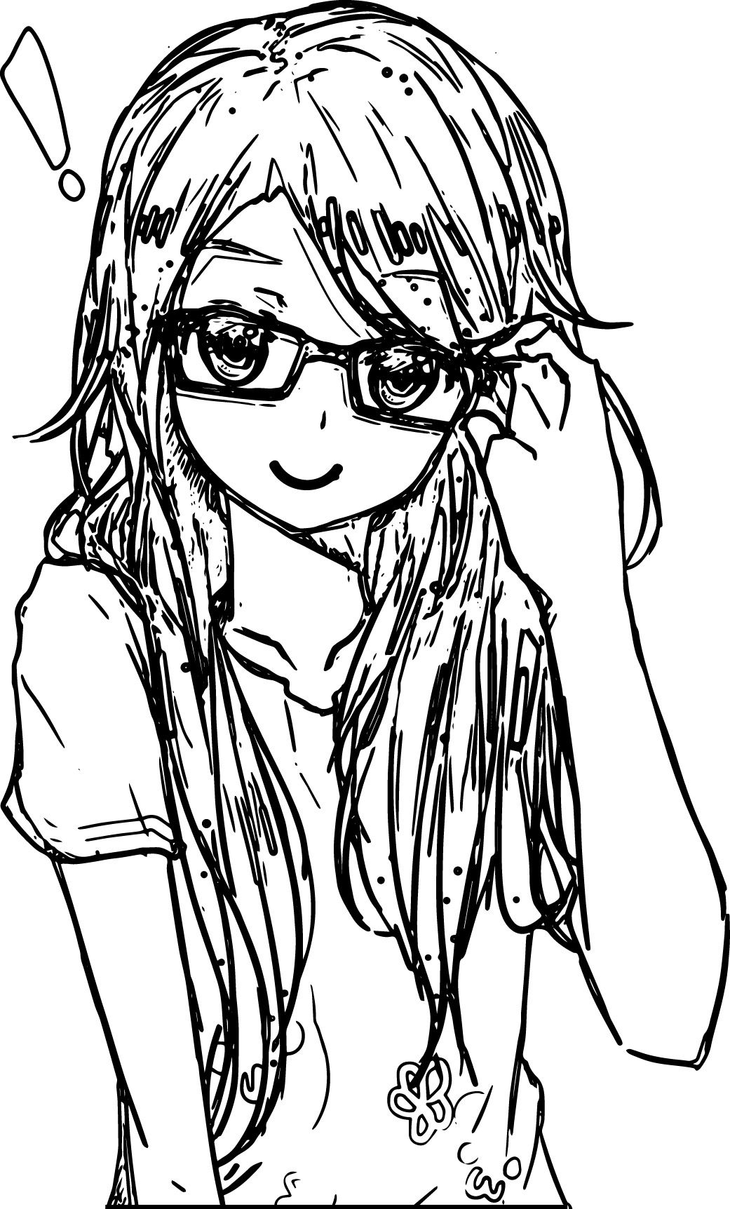 Awesome Anime Art Girl Glasses Coloring Page