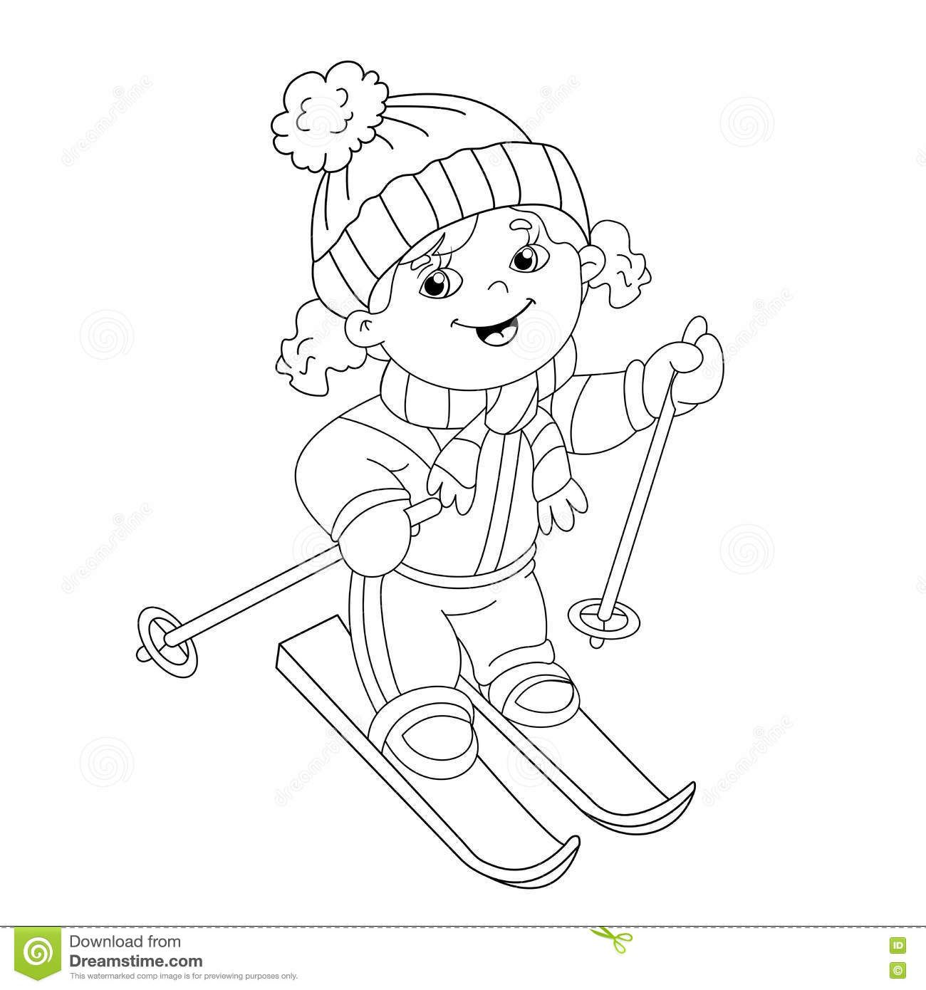 Coloring Page Outline Cartoon Girl Riding Skis Winter