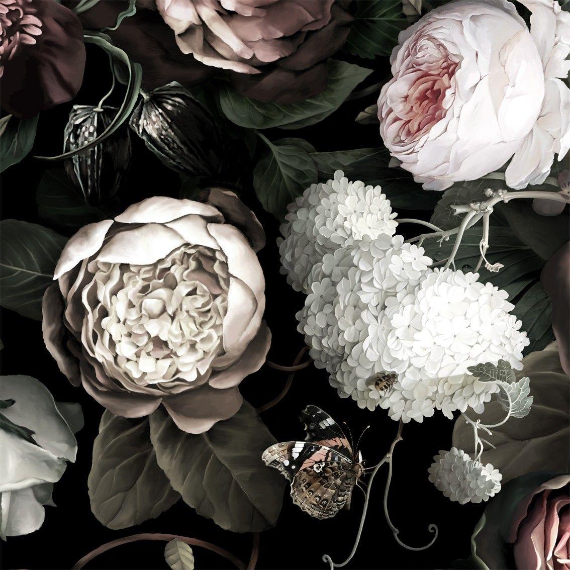 Dark Floral II Black Saturated Floral Wallpaper by