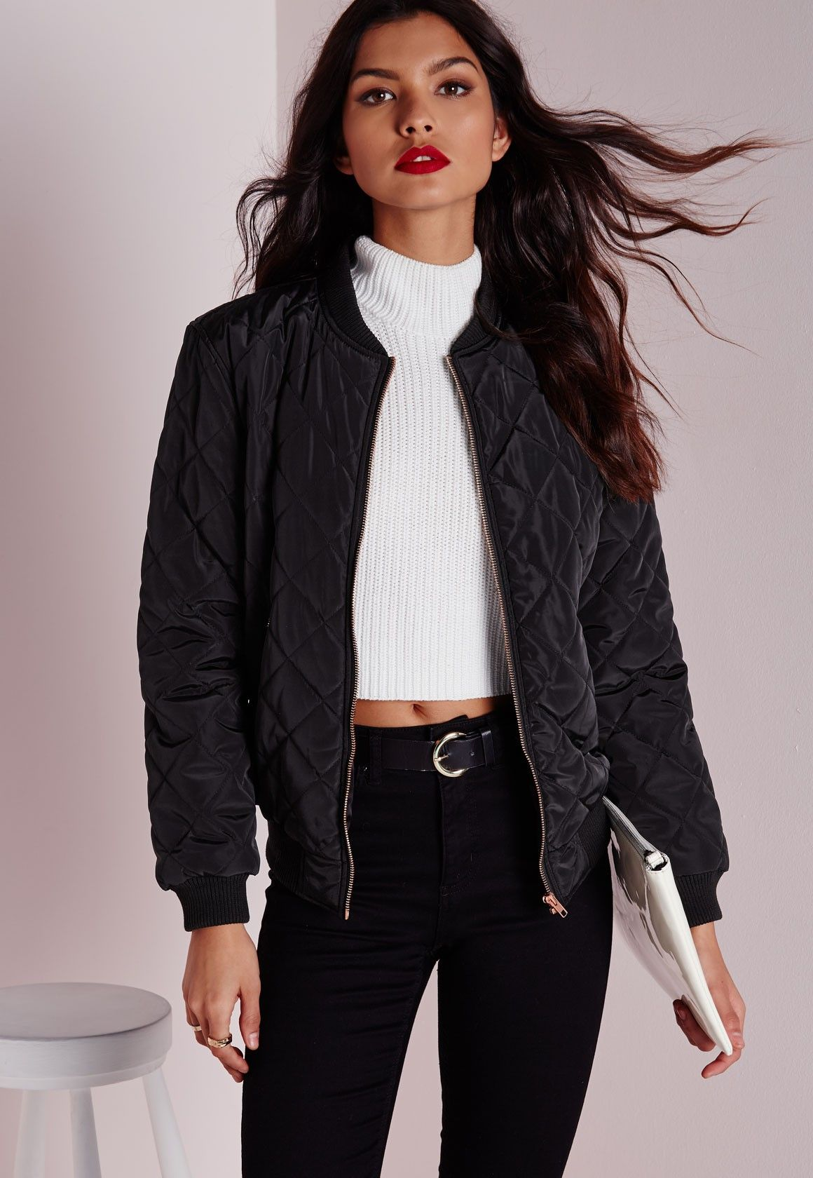 Keep your coat game strong in this black bomber jacket