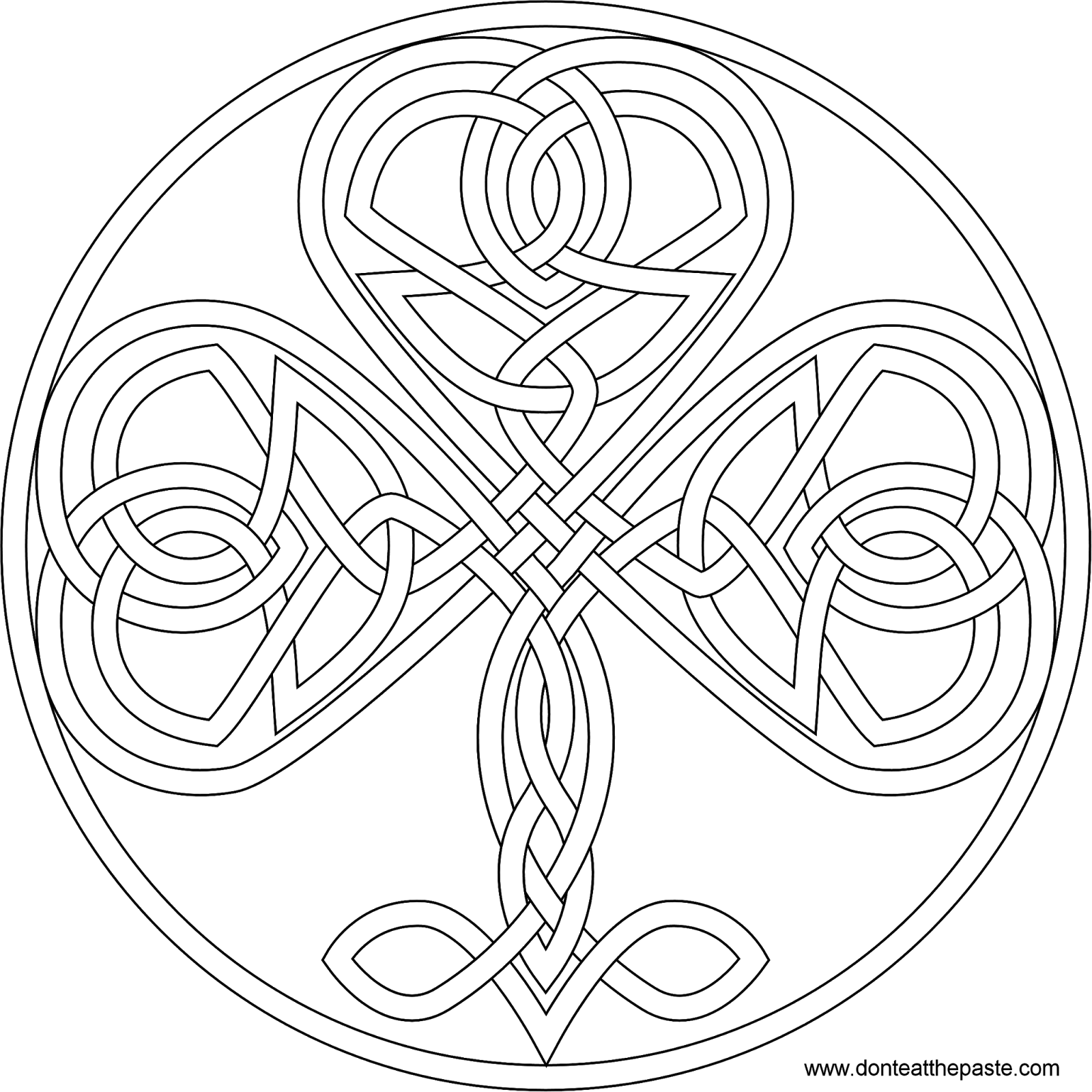 Knotwork Shamrock To Color Also Available In Format