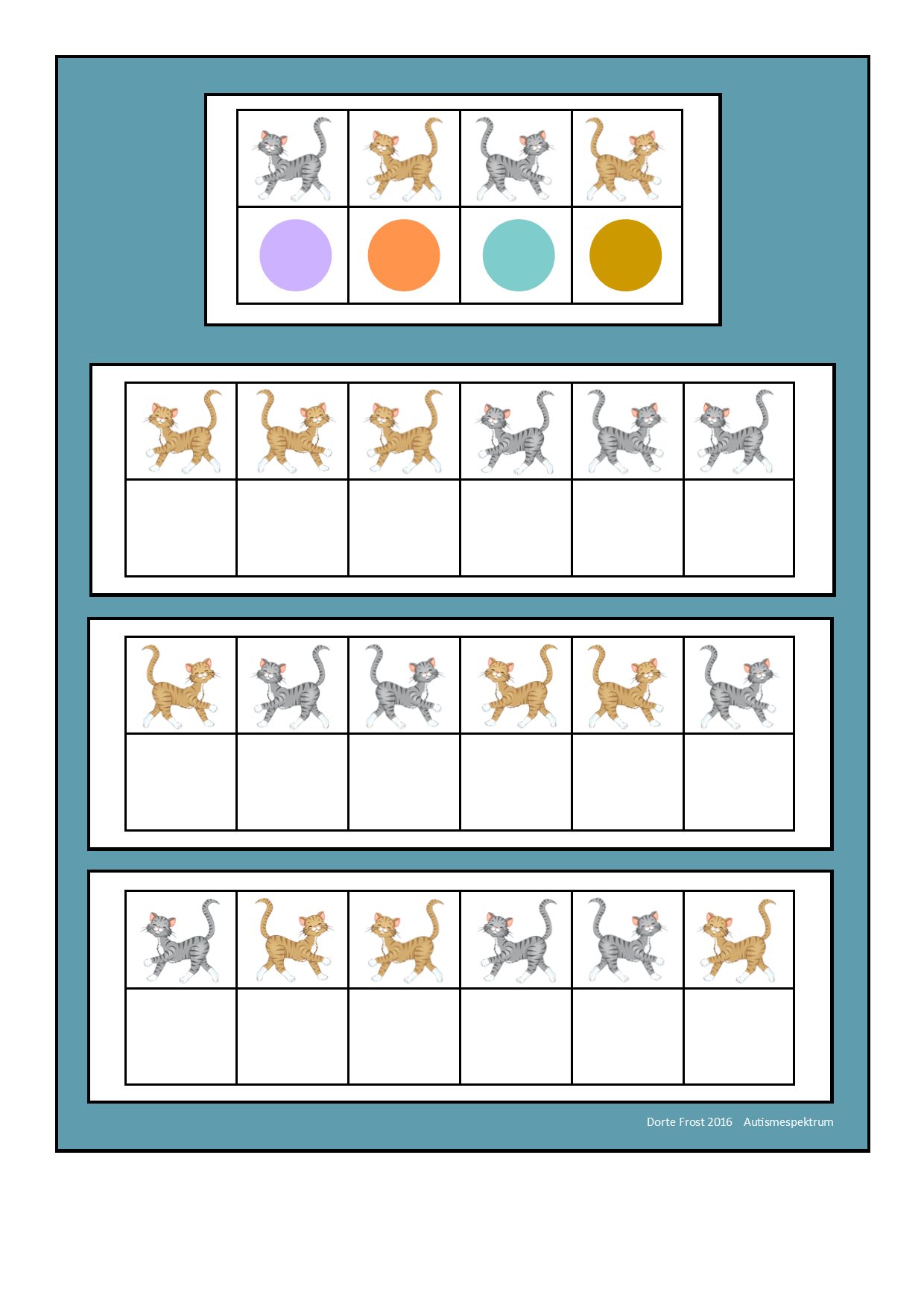 Board For The Cat Visual Perception Game Find The Belonging Tiles On Autismespektrum On