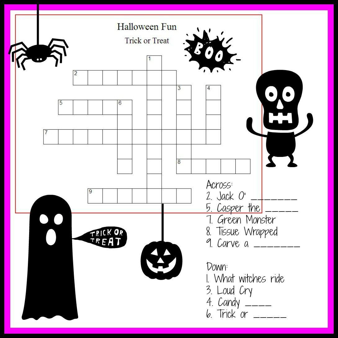 Halloween Crossword Puzzle For Little Monsters Halloween