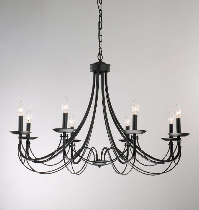 Iron 8 Light Black Chandelier Ping Great Deals On Chandeliers Pendants