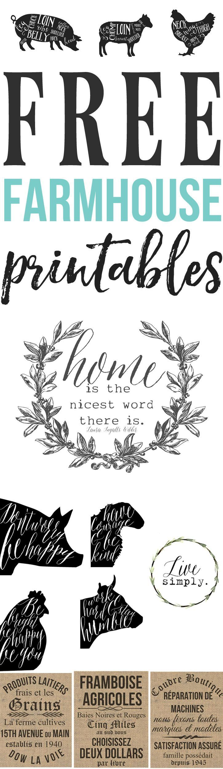 Free Farmhouse Printables For Your Home Cricut, Free and